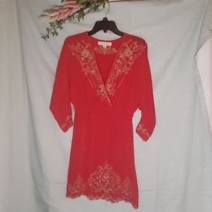 Champagne & Strawberry Red Silk Dress 653